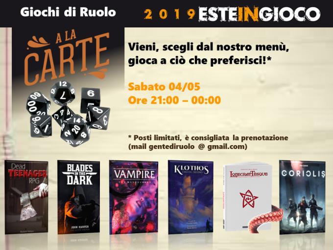 """Il sabato sera a Este in Gioco è """"Gdr a la Carte!"""""""